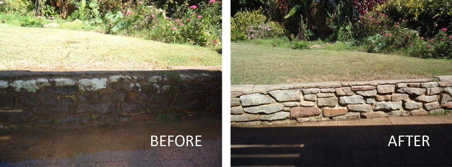 Stone wall pressure cleaning