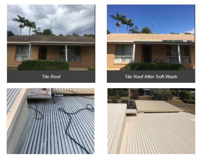 Roof clean Sunshine Coast Before After