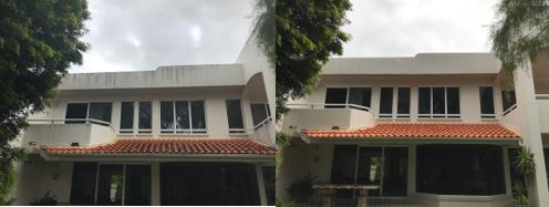 house + roof before and after