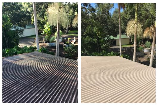 Iron roof wash before and after